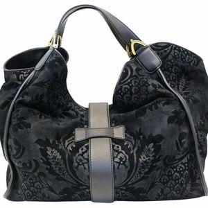 0ab080fbe919 GUCCI Soft Stirrup Nubuck Black Suede Shoulder Bag